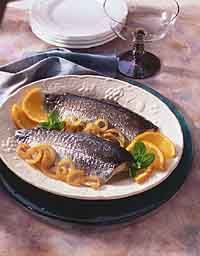 Seafood, like this trout stuffed with fresh mint and orange, is healthy and easy to make.