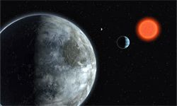 One artist's take on the Gliese 581 planetary system. The biggest one is meant to be Gliese 581c, with the mid-sized exoplanet being Gliese 581b and the blip being Gliese 581d.