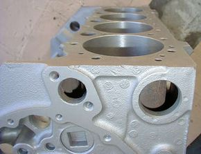 Note that the walls of the cylinder are quite thin, and that the engine block is mostly hollow.
