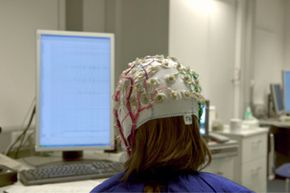 Many brain-computer interfaces use EEG sensors to measure electrical impulses in the brain. See more brain pictures.
