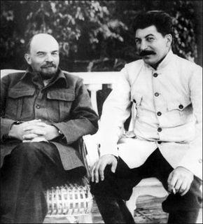 Lenin and Stalin in 1922 in Gorki, Soviet Union.