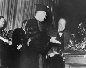 Guest speaker Winston Churchill steps up to speak at a college in Missouri. He would later be known for his famous Iron Curtain speech.