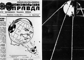 The Soviet newspaper Pravda announces the launch of Sputnik.