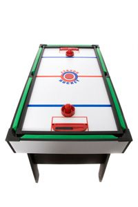 Combination game tables typically include an air hockey table and a pool table.