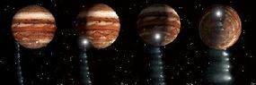 Artist's rendering of the collision of comet Shoemaker-Levy 9 and Jupiter