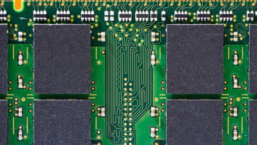 Close up of memory ram circuit board