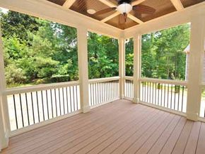 Newly built deck on rear of house.