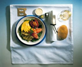 A typical in-flight meal on the Concorde