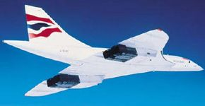 Concorde in flight: Note that the engines are attached directly underneath the wing without struts.