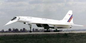 The Russian Tu -144LL landing