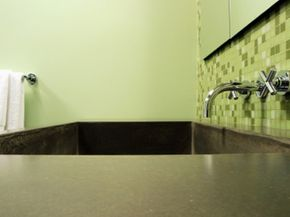 A concrete countertop