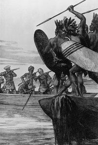 An 1875 depiction of British colonialists battling the native Congolese on the river
