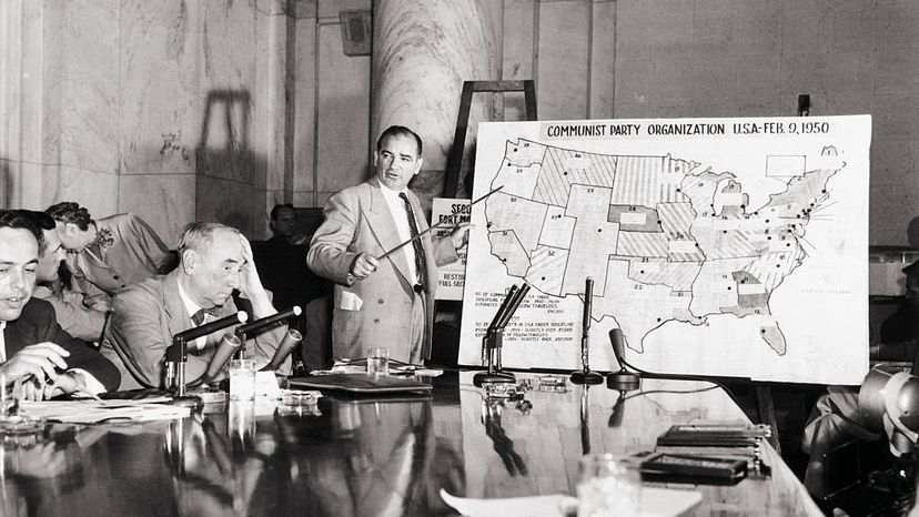 During the Army-McCarthy hearings in 1954, Sen. Joe McCarthy testified on the Communist Party organization with the aid of a huge map of the U.S. Army counsel Joseph N. Welch (L) denounced McCarthy as a 'cruelly reckless character assassin.' Bettmann/Getty Images