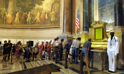 Visitors to the National Archives in Washington, D.C., took a quick peek at the Declaration Independence, the Constitution and the Bill of Rights. See pictures of the American Revolution.