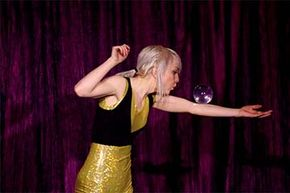 Canadian Lindsay-Marie performs some body rolls as part of her contact juggling act at WowFest in Calgary.