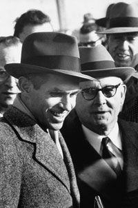 Alger Hiss (left) on release from Lewisburg Prison