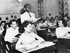 A black student, Nathaniel Steward, recites his lesson on May 21, 1954, at the Saint-Dominique school in Washington after segregation in public schools was outlawed.