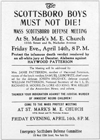 1931: A poster advertising a defense meeting for Haywood Patterson, one of the Scottsboro Boys.
