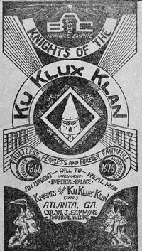 Illustrated cover of a brochure promoting a chapter of the KKK circa 1916.