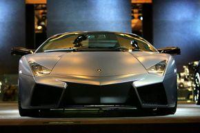 Lamborghini showcases its $1.4 million Reventon during the Los Angeles Auto Show, on November 15, 2007 in Los Angeles, Calif.