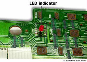LED indicator light on the handset of the GE cordless phone