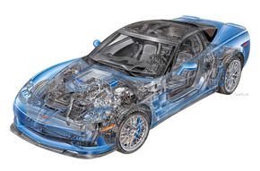 The ZR1 shares many components with the current Z06 Corvette, but some parts have been upgraded.