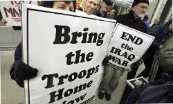 You're certainly not going to see this sign if you live in a country without a military. See more protesting pictures.