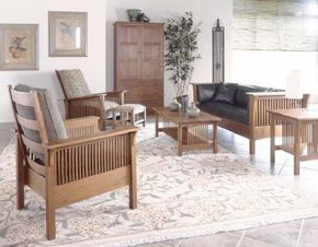 Craftsman-style furniture from the designs of Arts and Crafts-icon Gustav Stickley                                            look as fresh and exciting today as they did so long ago. Area rugs depicting                                            foliage, botanical-style fruit prints, and simple, burnt-bamboo shades carry                                            out the natural yet sophisticated scheme.