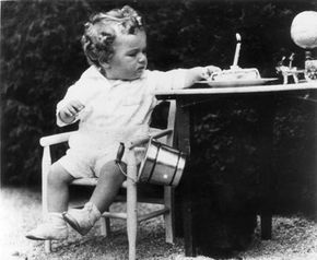 Charles Augustus Lindbergh Jr., son of the American aviator, on his first birthday