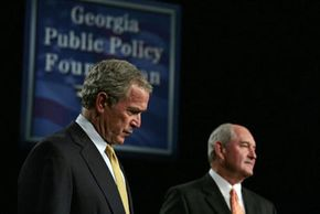 In a 2006 visit to Atlanta, President George W. Bush (with Georgia Gov. Sonny Perdue) affirmed theexistence of secret prisons.