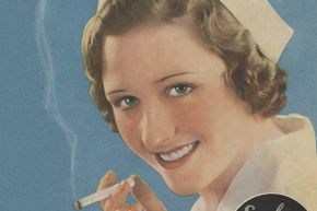 A 1930's magazine ad shows a nurse enjoying a cigarette.