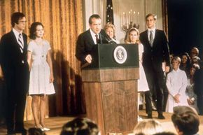 Richard Nixon at the White House with his family after his resignation as president of the U.S. in 1974.