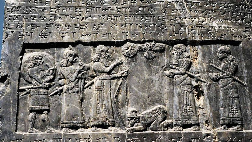 Assyrian King Shalmaneser handshake