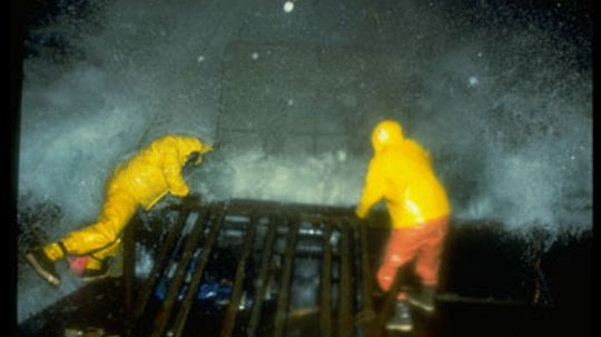 Which is more dangerous: crab fishing or filming crab fishing?
