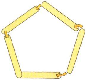 Arrange the jumbo sticks in a pentagon shape.