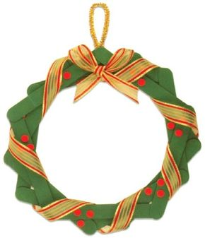 Dress up your door with this Christmas wreath made from craft sticks.