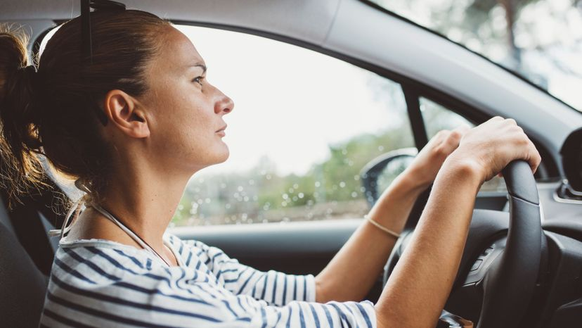 Female driver, traffic