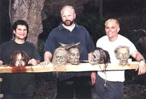 """From left to right -- Matt Rose, Frank Rydberg and Chad Waters on the set of """"When Zombies Attack!!""""."""