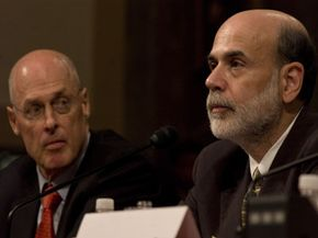 Treasury Secretary Henry Paulson (left) and Federal Bank Chairman Ben Bernanke testify to Congress about the 2008 financial crisis.