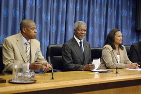 A crisis can include a press conference such as this United Nations conference responding to the global water crisis.