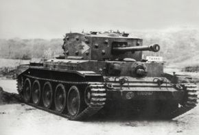 An early Cromwell A-27M Infantry Tank on gunnery trials in England.