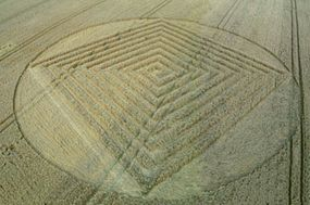 This is the resulting formation. Created in a field opposite Silbury Hill in Wiltshire, it took the team five hours to create.