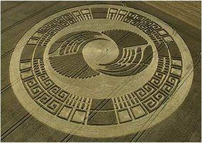 A crop circle near Silbury Hill in Wiltshire, England, that resembles an Aztec Sun Stone