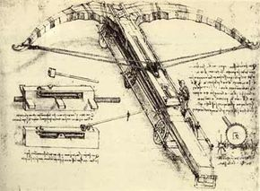 A diagram of a crossbow by Leonardo DaVinci.