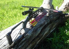 A recurve crossbow with a draw weight of 150 pounds and a telescopic sight.