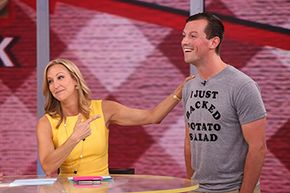 """Co-anchor Lara Spencer talks to Zack """"Danger"""" Brown on """"Good Morning America"""" in July 2014. Brown launched a Kickstarter campaign to make potato salad and raised $55,000 from his original $10 goal."""