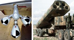 Left: AGM Tomahawk air-launched cruise-missile loaded on a B-52 Stratofortress Right: Ground Launch Cruise Missile (GLCM) launcher