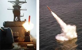 Left: Tomahawk cruise missile launched from the USS Merrill Right: Tomahawk cruise missile launched from nuclear submarine USS La Jolla