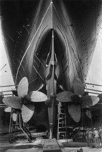 The propellers on this superliner are easy to spot while this boat is dry-docked.
