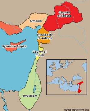 A map of the Crusader States established after the First Crusade.